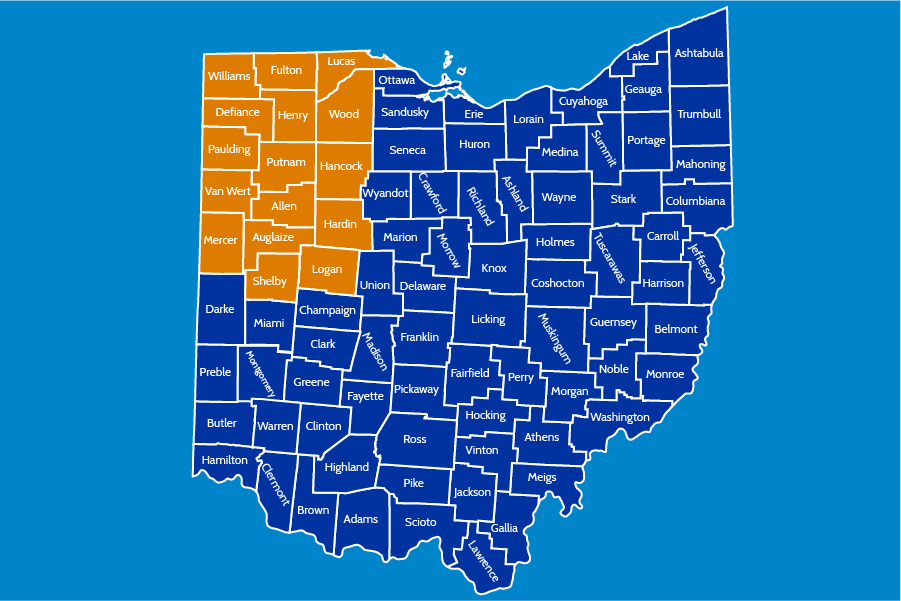 Map of Ohio with the northwest area marked