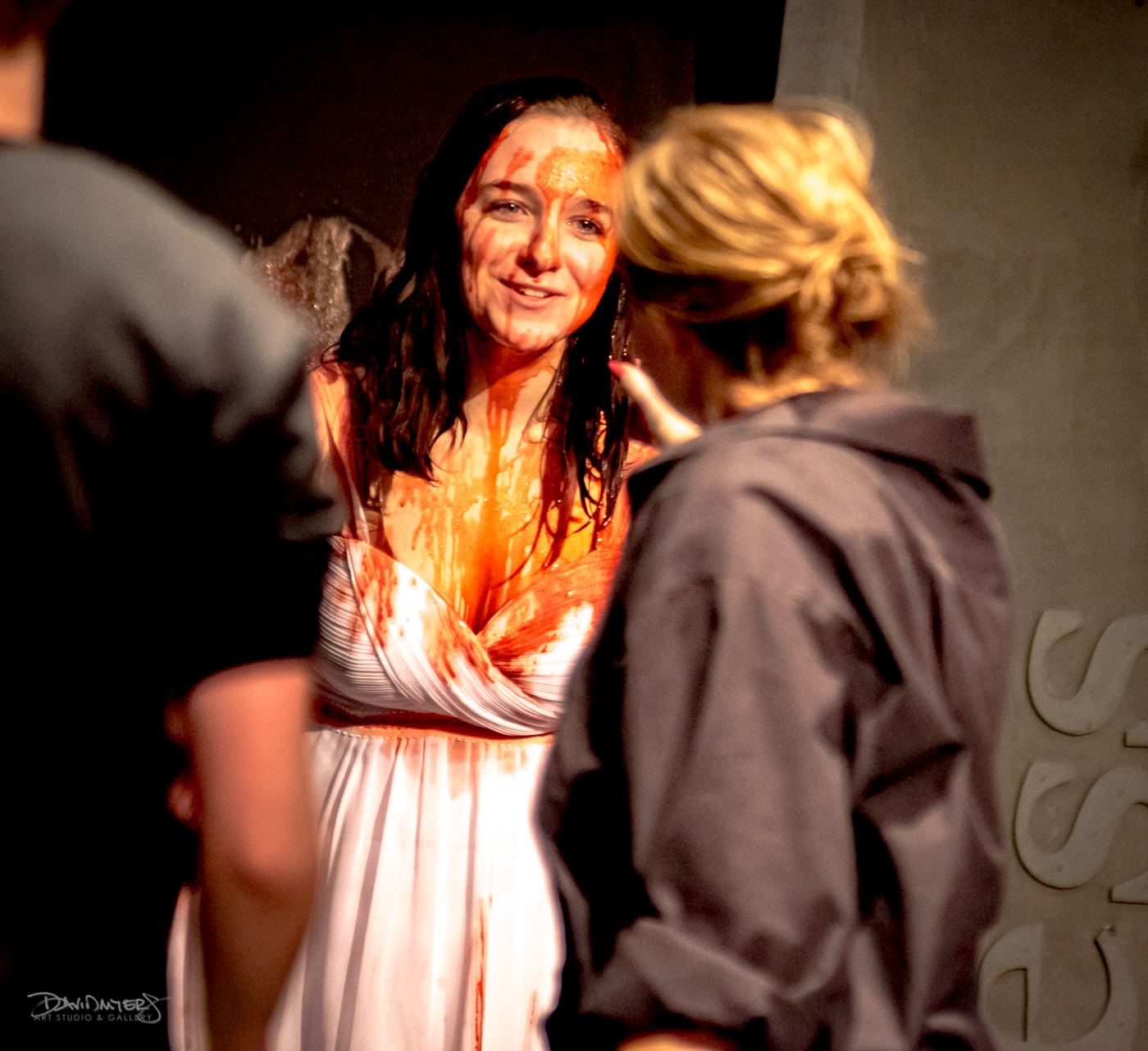 technician covers Carrie in blood
