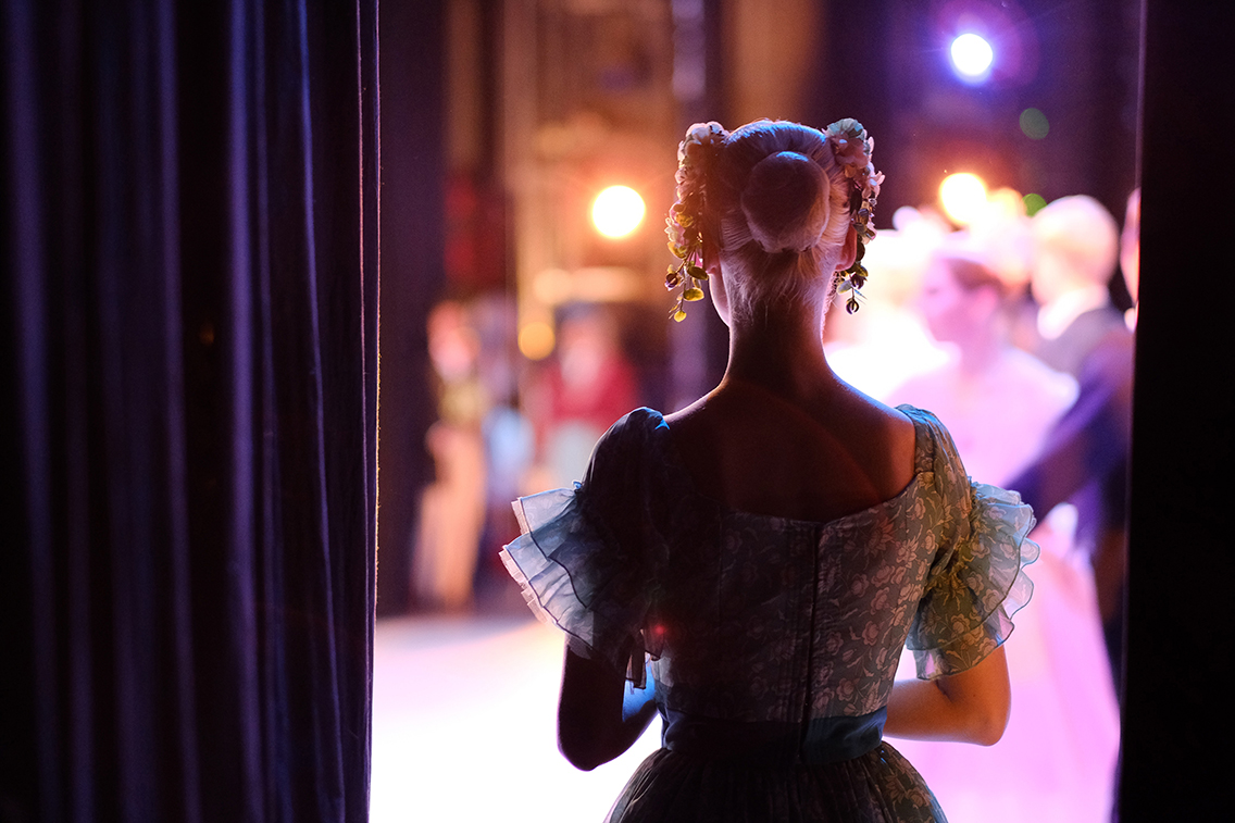 A ballerina awaiting the moment of entering the stage in the pla